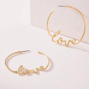 """Stella & Dot Gold """"Love Hoops"""" Earrings"""